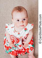女の子, 赤ん坊, 服, 赤い花