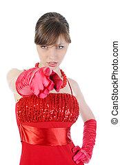 女の子, 赤, ∥で∥, ∥, 伸ばしている, arm.