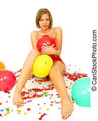 女の子, 赤, 保有物, balloon