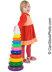 女の子, 赤, 服, ∥で∥, おもちゃ