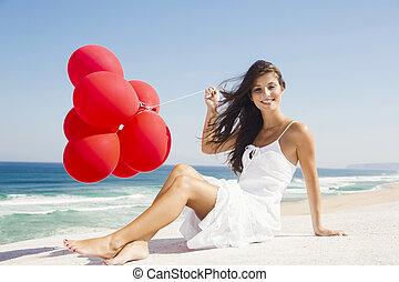 女の子, 赤, 風船