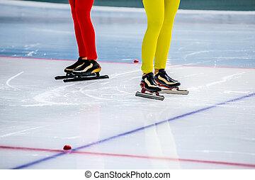 女の子, 足, スケーター, 2, スピード