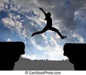 女の子, 跳躍, ギャップ