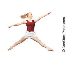 女の子, 跳躍, スポーティ