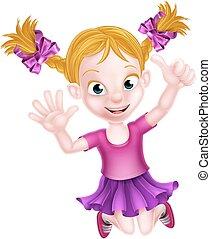 女の子, 跳躍, 漫画, 幸せ