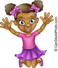 女の子, 跳躍, 黒, 漫画, 幸せ