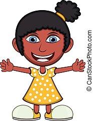 女の子, 身に着けていること, 黄色のドレス