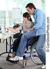 女の子, 車椅子, 仕事
