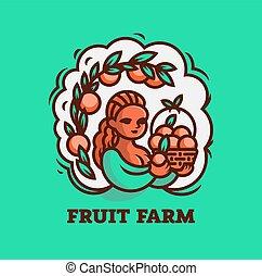 女の子, 農夫, ∥で∥, a, バスケット, の, fruit.