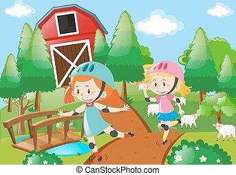 女の子, 農家の庭, rollerskate, 2