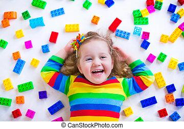 女の子, 遊び, ∥で∥, おもちゃのブロック