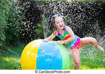 女の子, 遊び, ∥で∥, おもちゃ, ボール