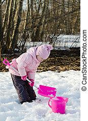 女の子, 遊び, 冬, 雪