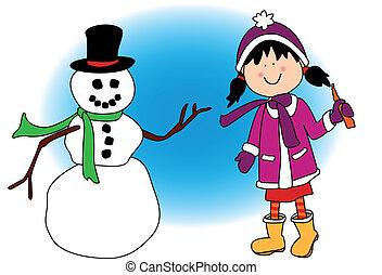 女の子, 遊び, 雪