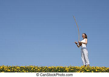 女の子, 遊び, berimbau, 中に, 春, 牧草地