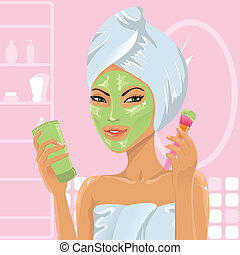 女の子, 適用, 顔の マスク