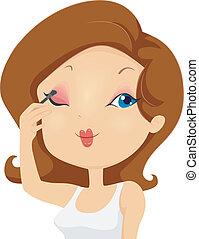 女の子, 適用, eyeshadow, 構造, 上に, まぶた