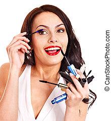 女の子, 適用, makeup.