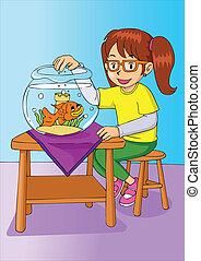 女の子, 金魚