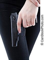 女の子, 銃, 手を持つ