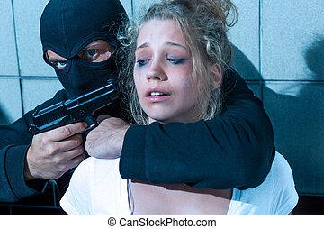 女の子, 銃, 指すこと, 人