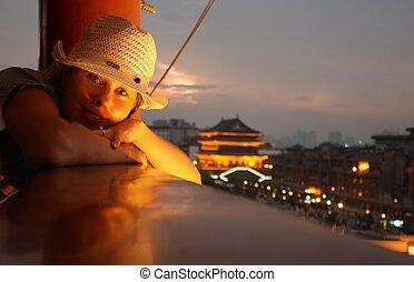 女の子, 陶磁器, 旅行する, 若い