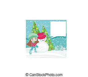 女の子, 雪だるま, カード