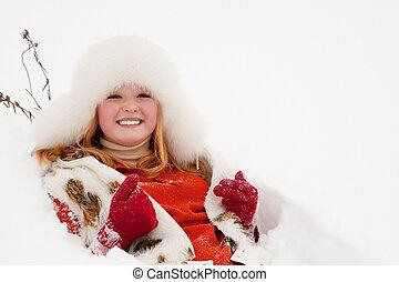 女の子, 雪, あること