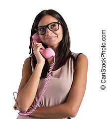 女の子, 電話 で 話すこと