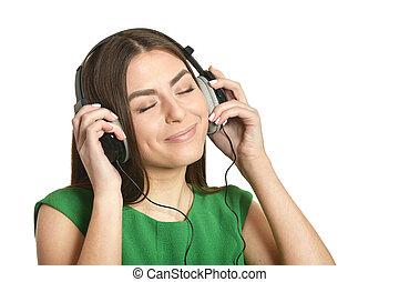 女の子, 音楽 を 聞くこと, 中に, ヘッドホン