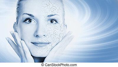 女の子, 顔, ∥で∥, 半分, 健康, そして, 半分, かゆい, 乾きなさい, 皮膚
