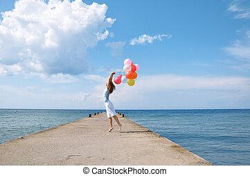 女の子, 風船, 幸せ