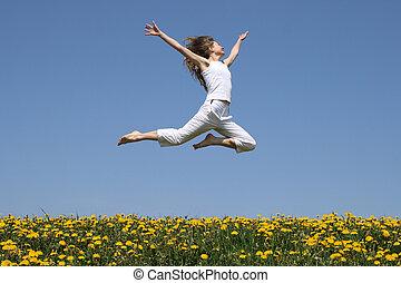 女の子, 飛行, 中に, a, ジャンプ, 上に, タンポポ, フィールド