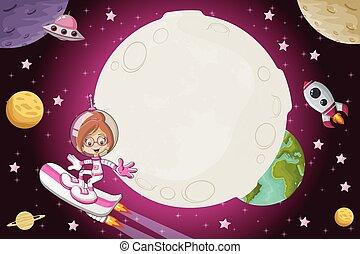 女の子, 飛行, 宇宙飛行士, 漫画, スペース
