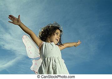 女の子, 飛行, 若い
