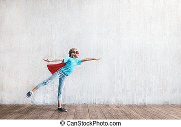 女の子, 飛行, 英雄, 外套