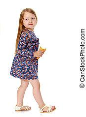 女の子, 食べること, アイスクリーム