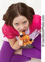 女の子, 食べること, 若い, ピザ