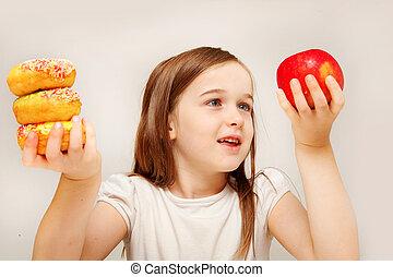 女の子, 食物, 作成, 決定, 若い, 不健康, betwen, depicts, y, 食品。, 健康, これ, 写真