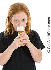女の子, 飲むこと, ビール, 若い