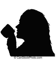 女の子, 飲むこと, 保有物のコップ