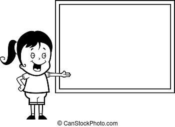 女の子, 黒板
