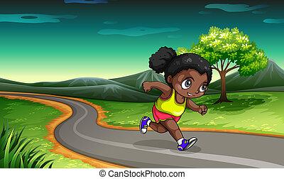 女の子, 黒, ジョッギング