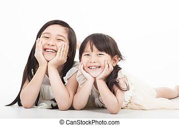 女の子, 2, アジア人, 背景, 白, 幸せ
