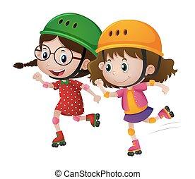 女の子, 2, 一緒に, rollerskate