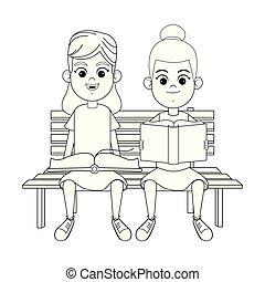 女の子, 2, 若い, 本, 黒, 白, 読書