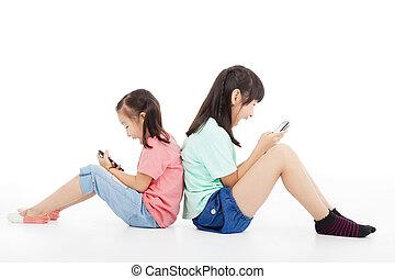 女の子, 2, 電話, 遊び, 痛みなさい, 幸せ