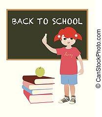 女の子, 'back, school', 提示