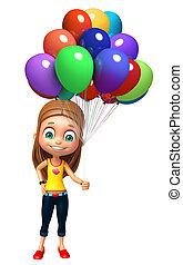 女の子, balloon, 子供