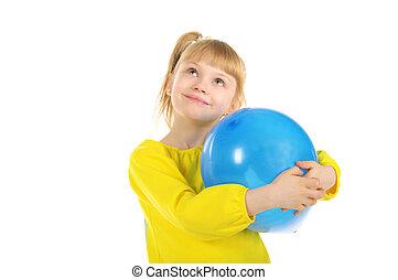 女の子, balloon, 幸せ